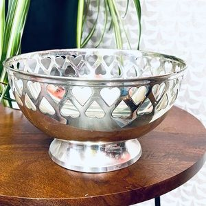 """Silver Heart Cutout Vintage Bowl Made in India 8"""""""